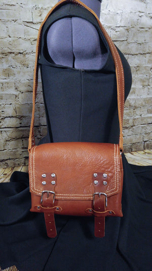 Saddle bag lined, double strap closure - Special Purchase