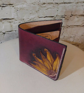 Bi-fold wallet, tooled design -Made To Order