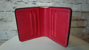 Leather bi-fold wallet with billfold, Wonder Woman inspired design - Made to Order
