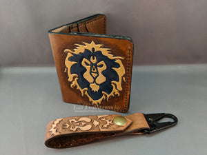 Leather bi-fold wallet with billfold, World of Warcraft inspired design, Alliance - Made to Order