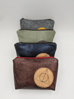 Leather Zipper pouch, cosmetic bag, travel pouch inspired by Harry Potter, Deathly Hallows