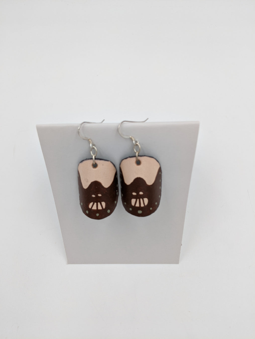 Leather Hannibal Lecter dangle earrings with sterling silver hook