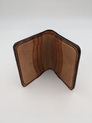 Leather medium brown bi-fold wallet with bill fold, hand made