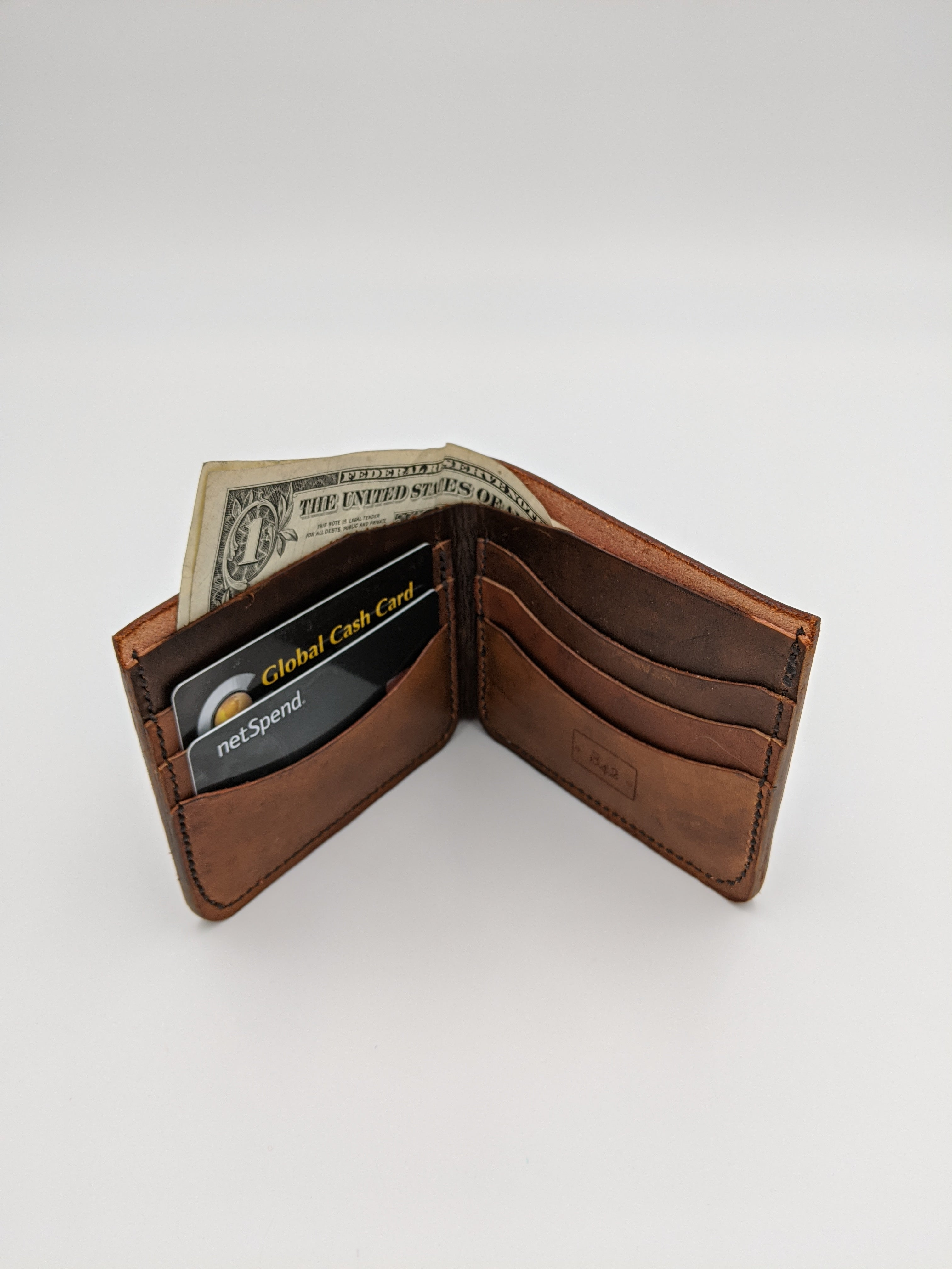 Leather bi-fold wallet with bill fold, horizontal card slots, hand made