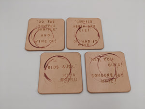 Leather coasters inspired by The Goonies, set of 4