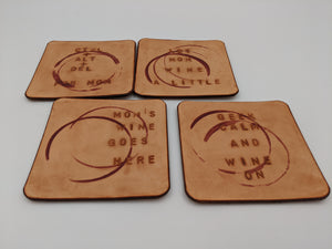 Leather coasters with stamped designs, geeky home accessory, set of 4