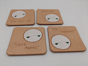 Handmade leather coaster with Marvin from Hitchhiker's Guide, set of 4