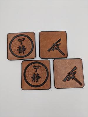 Leather coasters with Firefly and Serenity designs, set of 4
