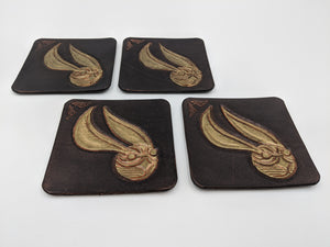 Handmade leather coasters with Golden Snitch design inspired by Harry Potter, set of 4