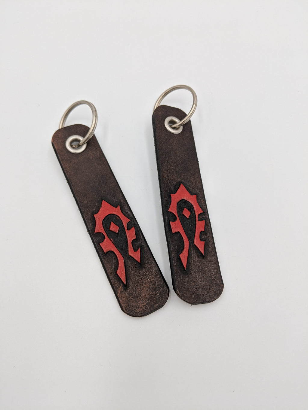 Leather World of Warcraft inspired key fob, Horde