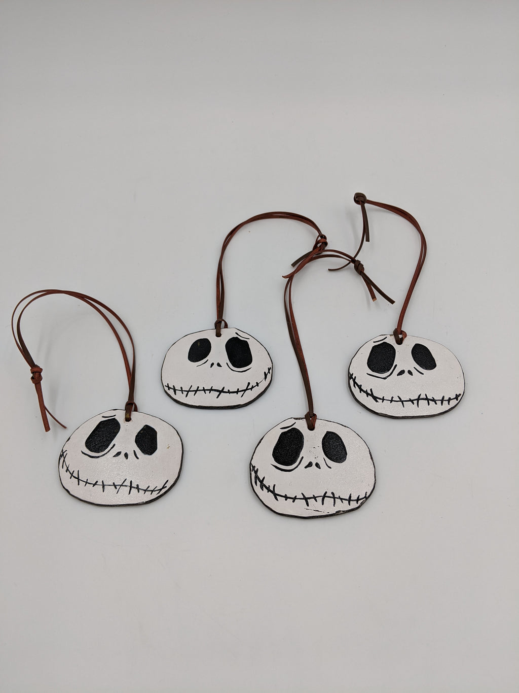 Leather tree ornament, inspired by Nightmare before Christmas, Jack Skellington