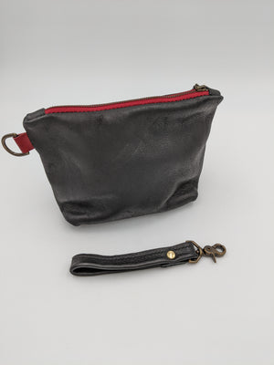 Leather zipper pouch, travel bag, toiletry pouch, make-up pouch