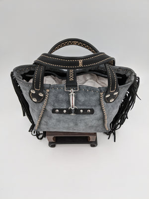 Leather hobo bag with fringe