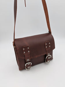 Leather saddle bag satchel with adjustable strap