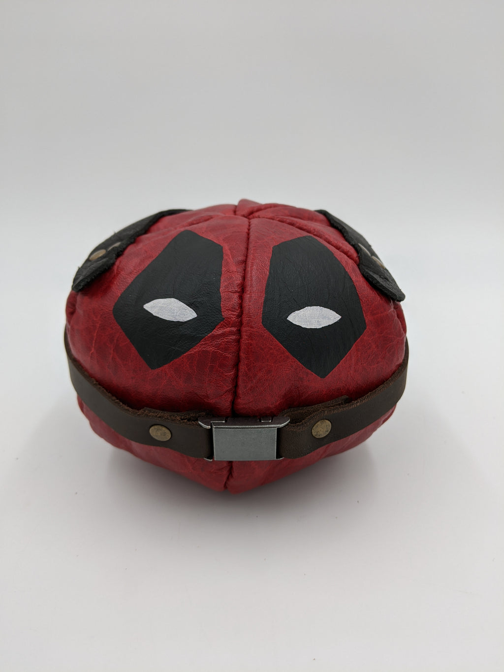 Leather office accessory, desk accessory, paper weight, stress relief, Deadpool