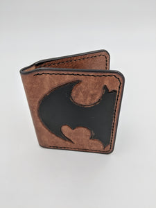 Handmade leather wallet, minimalist wallet, card wallet, Batman inspired design