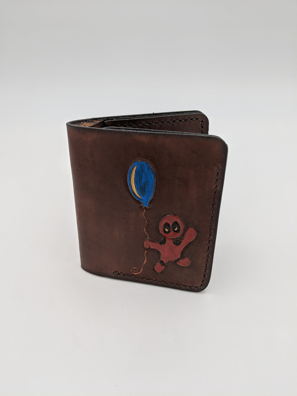 Handmade leather bifold wallet, card slots and billfold, Deadpool inspired design