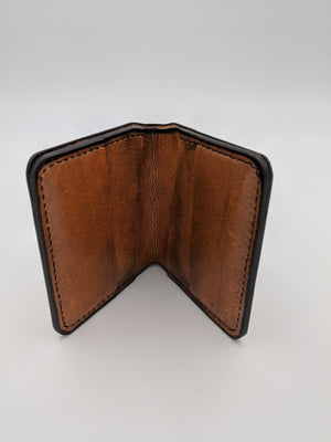 Handmade leather bifold wallet, with card slots, billfold, with mustache design