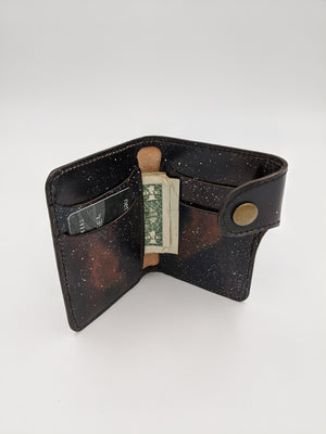 Leather biker wallet, bi-fold wallet, Guardians of the Galaxy inspired design