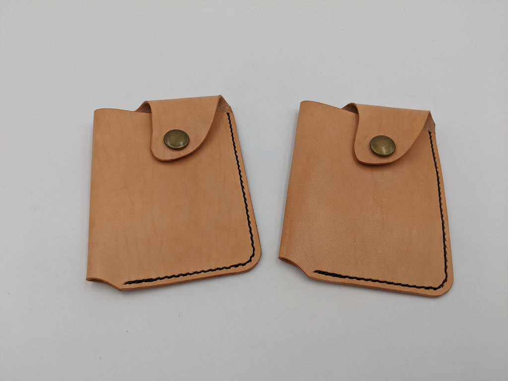 Handmade leather minimalist wallet, card holder, business card case - RTS