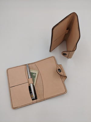 Handmade leather passport cover, travel wallet, field notes cover with Marvin, Hitchhiker's Guide