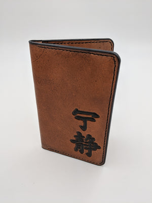 Handmade leather passport cover, travel wallet, field notes cover with Firefly/Serenity design