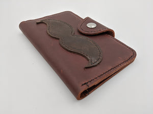 Handmade leather passport cover, travel wallet, field notes cover with mustache design