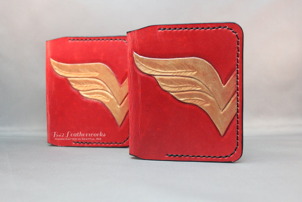 Leather bi-fold wallet, card or cash holder, no billfold, Wonder Woman design - Made to Order