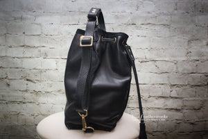 Leather bucket bag with drawstring and tassels - Made to Order
