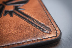 Handmade leather passport cover, travel wallet, field notes cover with Firefly design