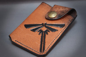 Handmade leather wallet, money clip wallet, minimalist card holder with Firefly design