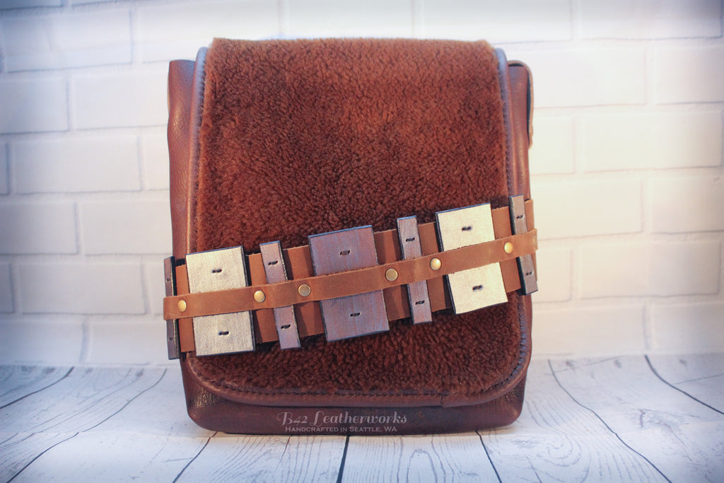 Leather book bag, satchel bag Star Wars Chewbacca inspired design - made to Order