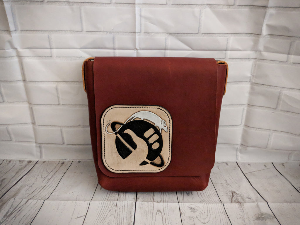 Leather book bag, satchel bag with Hitchhiker's Guide to the Galaxy inspired design - Made to Order