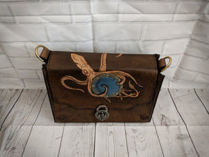 Hand crafted, tooled steampunk bag