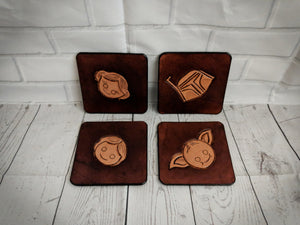 Leather coaster set, Star Wars inspired design - Made to Order