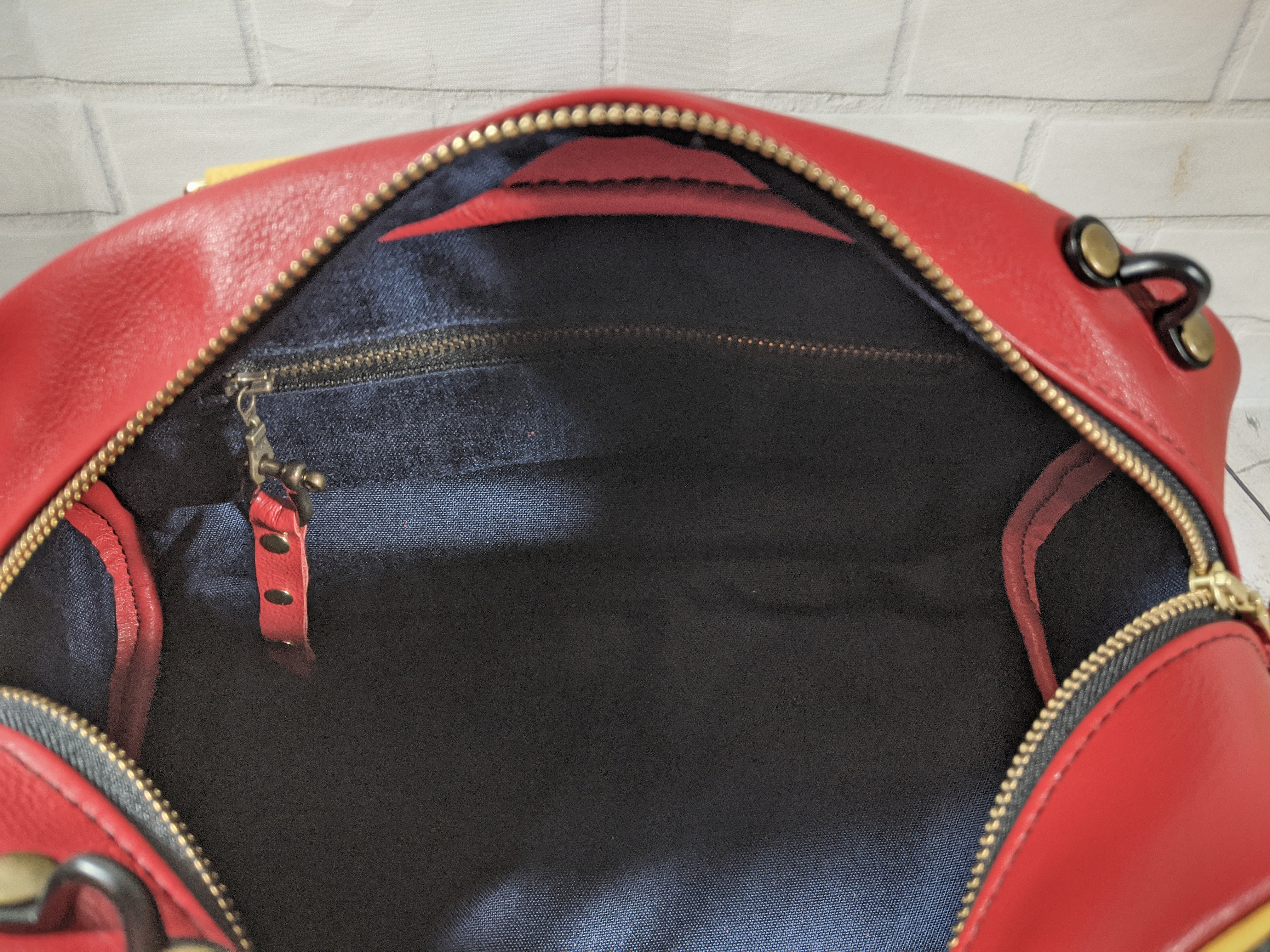 Leather shoulder bag, satchel, handbag, retro Captain Marvel inspired bag