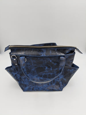 Handmade blue waxed leather zipper tote, mini shopper, handbag