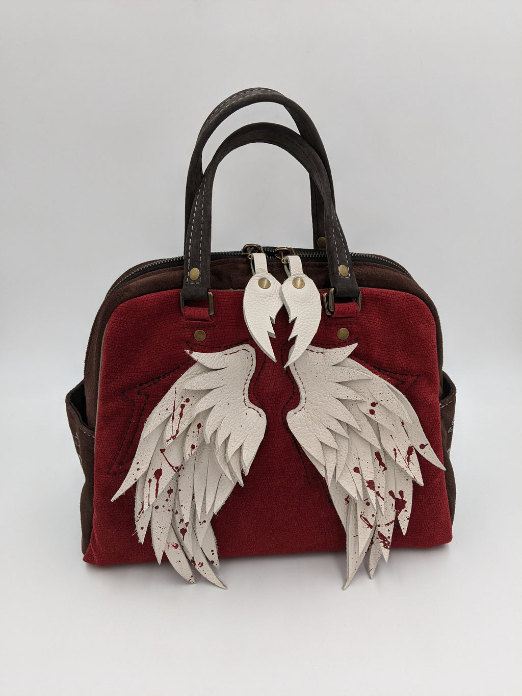 Red Italian leather satchel, shoulder bag, Supernatural inspired design