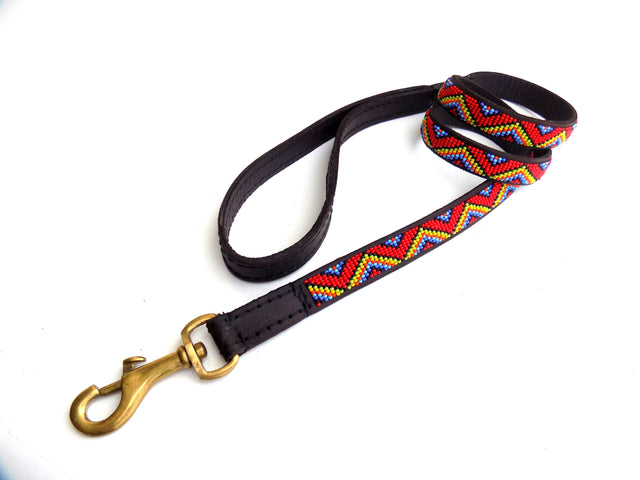 Dog Lead - zigzag maasai red