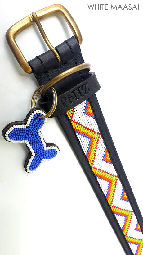 Dog Collar - zigzag white maasai