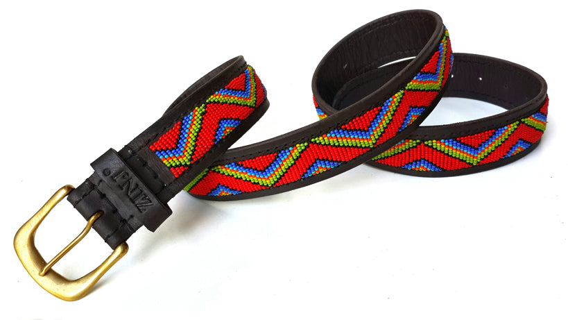 Belt - zigzag maasai red