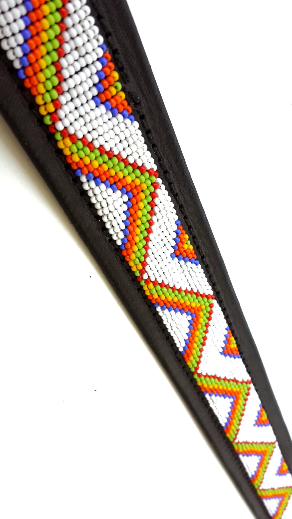 Belt - zigzag maasai white