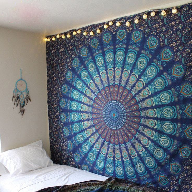 Blue & Green Feather Tapestry