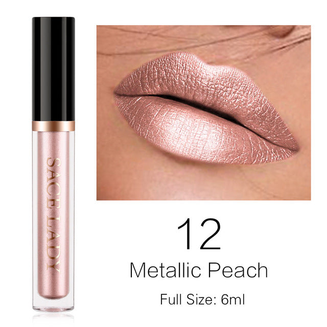 Metallic Peach -Waterproof Liquid Lipstick
