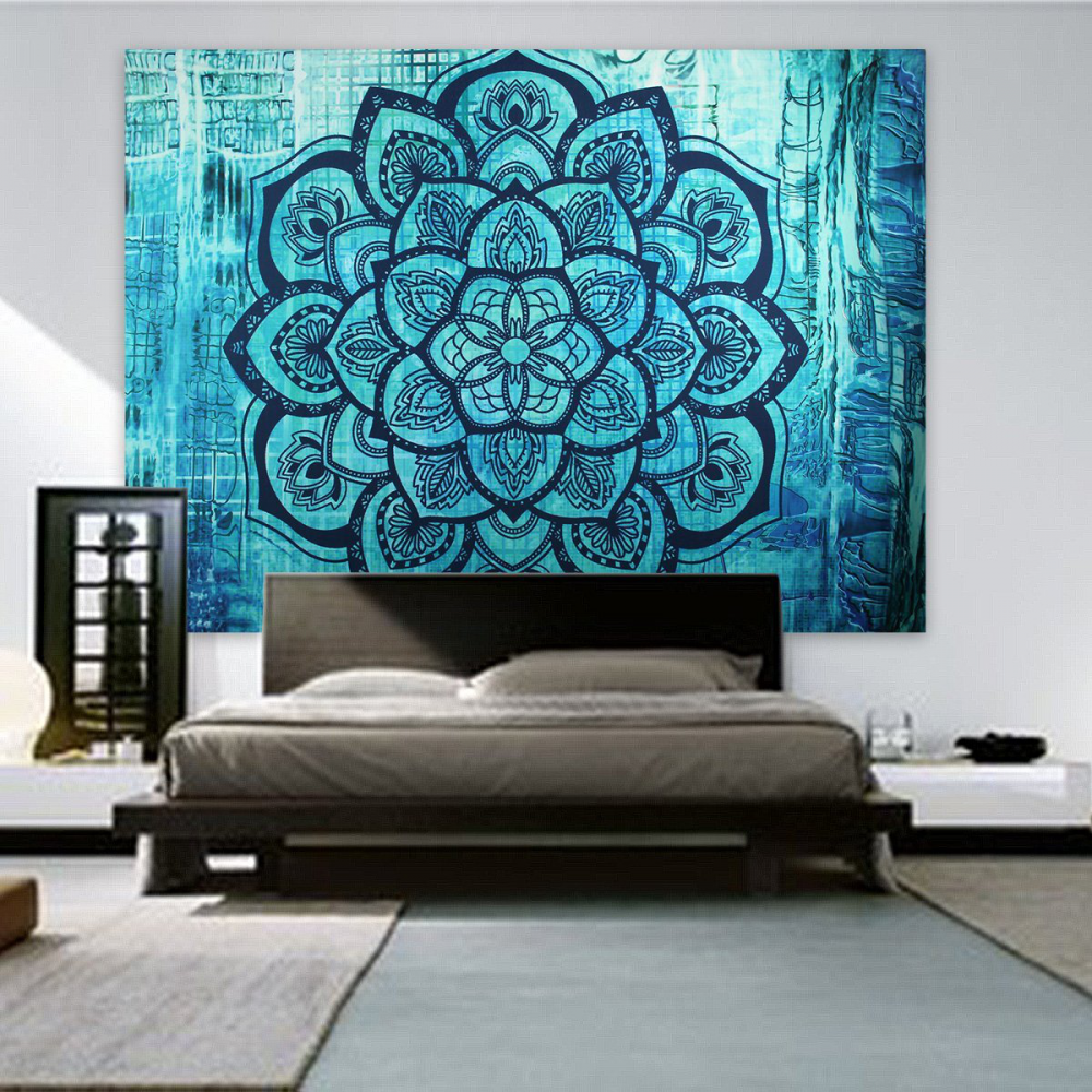 Blue Wall Tapestry Flower Lotus Dorm Room