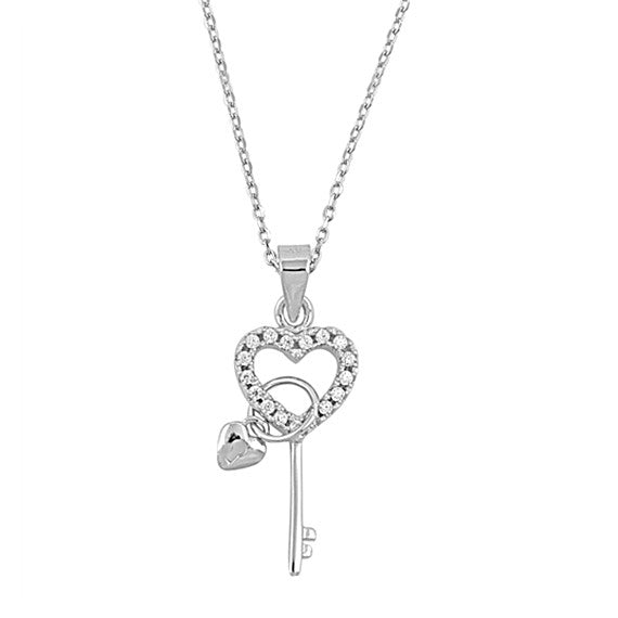 Sterling Silver Heart and Key Necklace