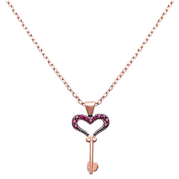 Sterling silver key and heart pendant