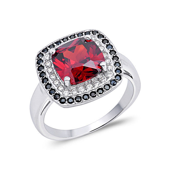 Sterling silver red cz ring beautilful
