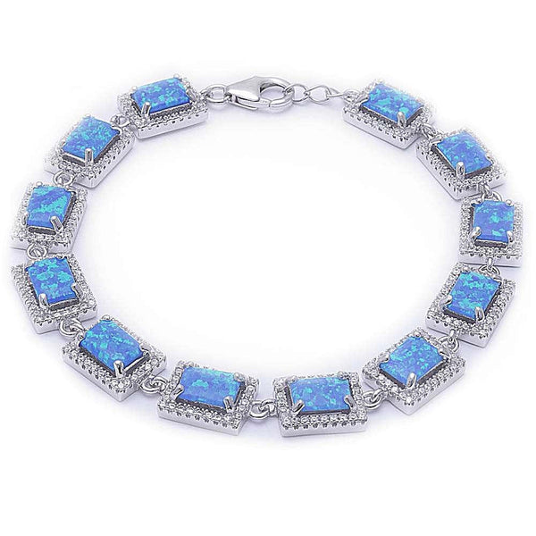 925 Sterling Silver The Blue Opal CZ Bracelet