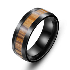Stainless Steel Black Wood Ring